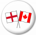 England and Canada Friendship Flag 25mm Pin Button Badge
